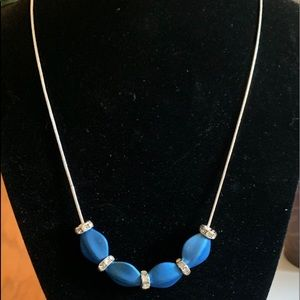 Jewelry - Blue and CZ Accent Silver Necklace